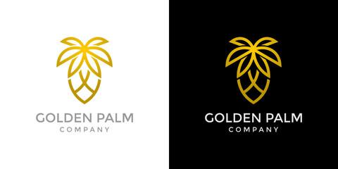 Golden Palm Logo Symbol Icon Monoline Design.  Wall mural