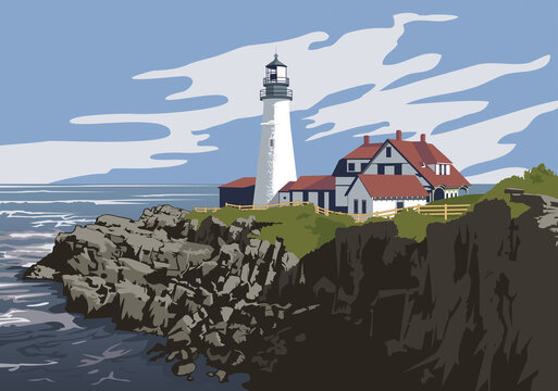 Portland Head Light, a historic lighthouse located on the Maine coast in the United States