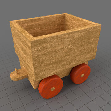 Wooden toy train freight car