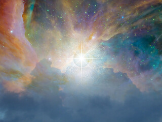 Gods eye in colorful universe. 3D rendering