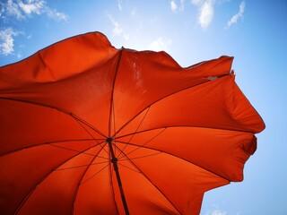 Fototapeta Low Angle View Of Red Umbrella Against Sky obraz