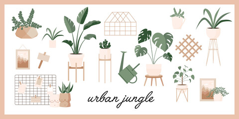 Glass greenhouse with tropical plants. Botanical home garden. House plants and flowers in pots. Gardening elements. Winter garden. Crazy plant lady hand drawn print for postcard, poster, banner.