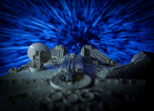 NEW YORK USA - APRIL 20 2020: Star Wars Millenium Falcon warping into hyperspace - vintage Kenner vehicle