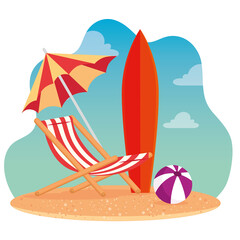 Wall Mural - summer scenes, beach chair with umbrella, surfboard and ball plastic, in the beach vector illustration design