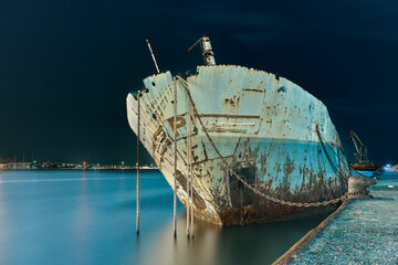 Acrylic Prints Shipwreck Abandoned Ship Moored In Sea Against Sky