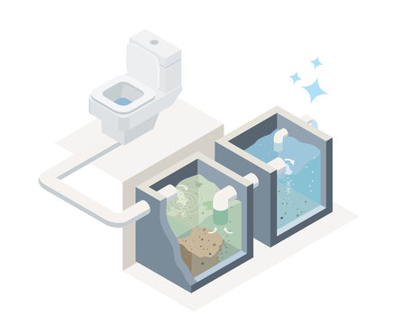 sewage treatment plant for smart house save the environment diagram isometric designed