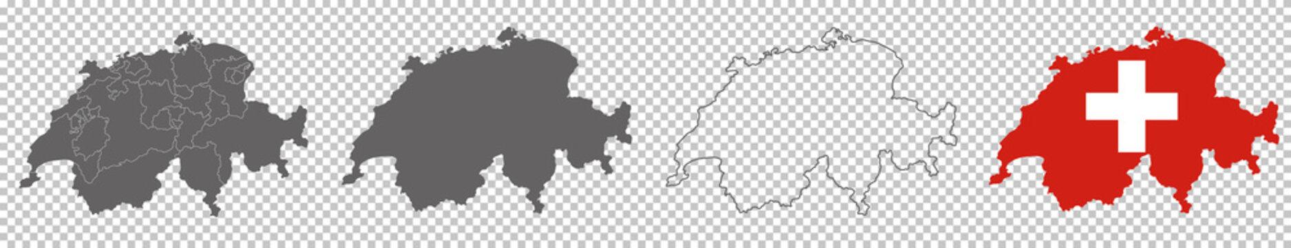 vector map flag of Switzerland isolated on white background