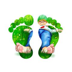 Fußabdruck Füße Fußsohle Kind Junge barfuß Familie grün weiß Gras fühlen erleben liegen ausruhen genießen strecken Sommer Sonne Erfahrung nachhaltig- Öko- Umwelt- Natur- schutz erneuerbar symbol logo