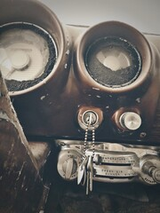 Fond de hotte en verre imprimé Vintage voitures High Angle View Inside Vintage Car