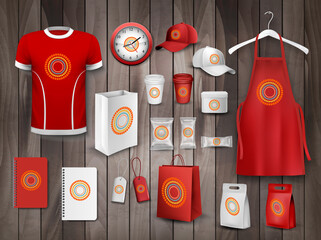Corporate identity template set. Mockup of food package, paper cup and bag, uniform apron, t-shirt and cap, notebook and clock, box and tag for business branding design Vector