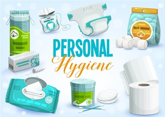 Personal hygiene products vector design of toilet paper rolls, cleansing towel or wet wipes, cotton wool balls, pads and swabs, dental floss, tampons and diaper. Bathroom accessories, sanitary items
