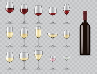 Types of wine glasses. Realistic bottle and glassware for white, red, rose wine, champagne and martini cocktail. Full, light and medium bodied glasses for alcohol drinks isolated 3d vector icons set