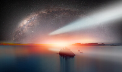 Wall Mural - The milky way galaxy in the night sky Neowise comet in the background - Long exposure image of Dramatic sky and seascape with rock