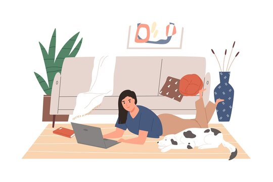 Freelancer girl working remotely lying on floor at cozy living room vector flat illustration. Modern female relaxing with dog use laptop isolated on white. Woman chatting or surfing internet at home