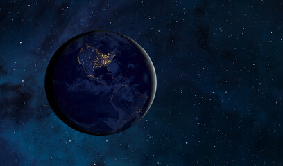Wall Mural - View of Earth from outer space with millions of stars around it