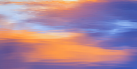 Wall Mural - Purple and orange sunlight reflection on the water surface. Dramatic dusk.