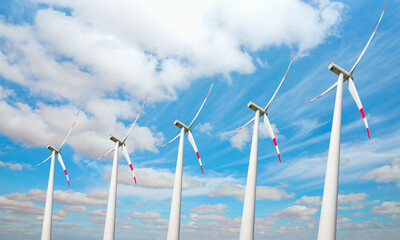 Wind turbines generating electricity with amazing cloudy sky