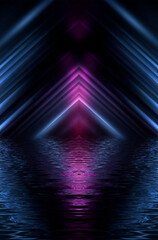 Dark modern futuristic neon background. Rays and lines of light. Night view of an empty scene with neon lights. Reflection in the water of bright light. 3D illustration.