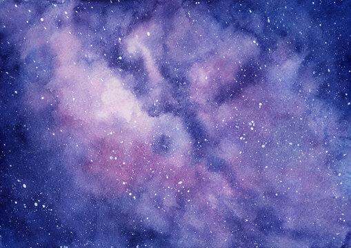 天の川 銀河系 水彩イラスト