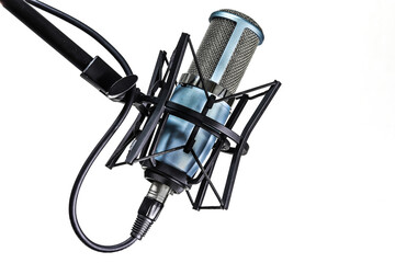 Photo Blinds Metal Close-up Of Microphone Against White Background