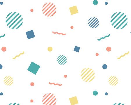 幾何学模様のカラフルなパターン/円/四角/線/POP