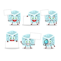 Wall Mural - Ice tube cartoon character bring information board