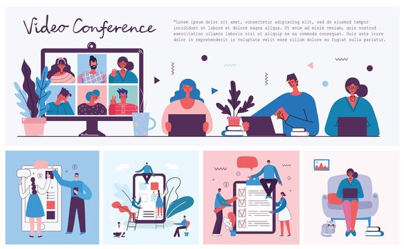 Webinar online business solution. People use video chat on desktop and laptop to make conference. Work remotely from home.