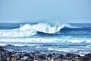 Foto op Plexiglas Canarische Eilanden Atlantic Ocean Waves On Fuerteventura Canary Island In Spain