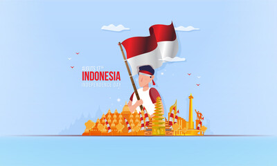 Youth spirit with city landmark of Indonesia for celebrate of independence day