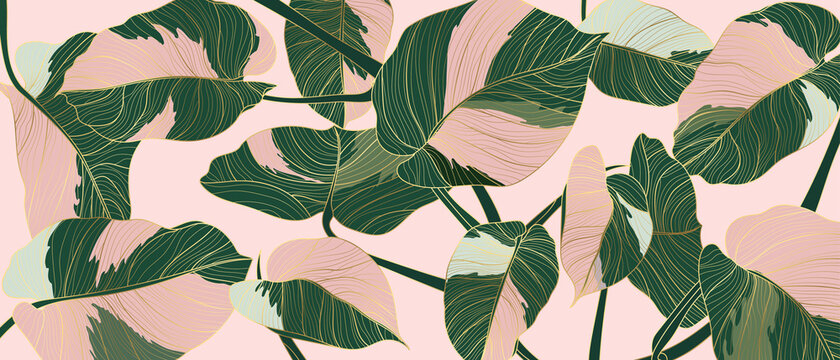 Luxury gold line art and Variegated Plants nature drawing background vector. Leaves and Floral pattern vector illustration.