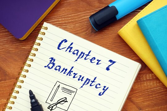 Business concept about Chapter 7 Bankruptcy with inscription on the sheet.