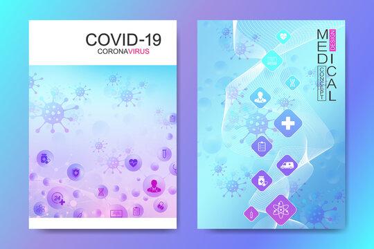 Modern Health care cover template design for a report and medical brochure design, flyer, leaflets for printing presentation. Healthcare cover template science design vector illustration