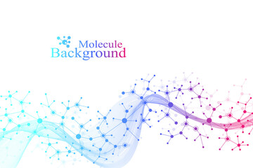 Colorful molecules background. DNA helix, DNA strand, DNA Test. Molecule or atom, neurons. Abstract structure for science or medical background, banner. Scientific molecular vector illustration