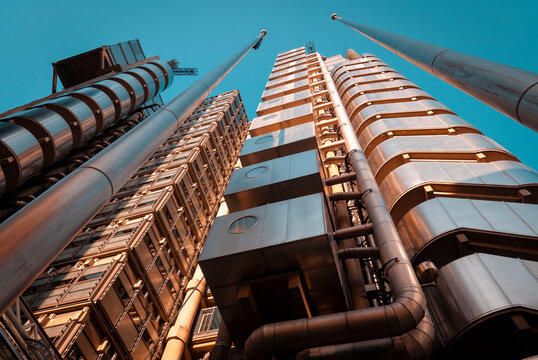 London, England - September 15, 2007: View looking upwards of the The Lloyd's Building in London's financial district, The building was completed in 1986