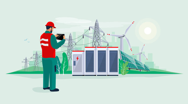 Electrician technician engineer man diagnostics electricity power supply grid transmission. Person inspection production facility. Renewable solar panel wind energy plant with battery storage.
