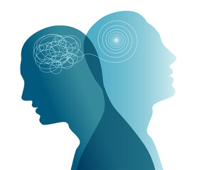 Metaphor bipolar disorder mind mental. Double face. Split personality. Concept mood disorder. Dual personality concept. 2 Head silhouette.Mental health. Psychology. Tangle and untangle