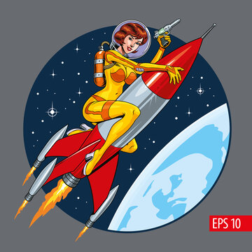 Attractive astronaut woman riding a rocket or missile. Vintage sci-fi style vector illustration.