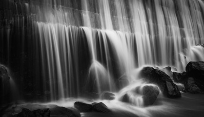 Waterfall black and white format in long exposure motion blur shot