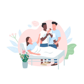 Surrogate mom with gay couple flat color vector faceless character