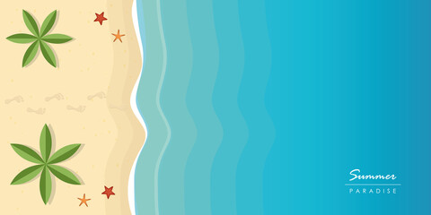 footprints on beautiful palm beach summer holiday background vector illustration EPS10