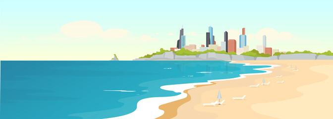 Sandy urban beach flat color vector illustration Wall mural