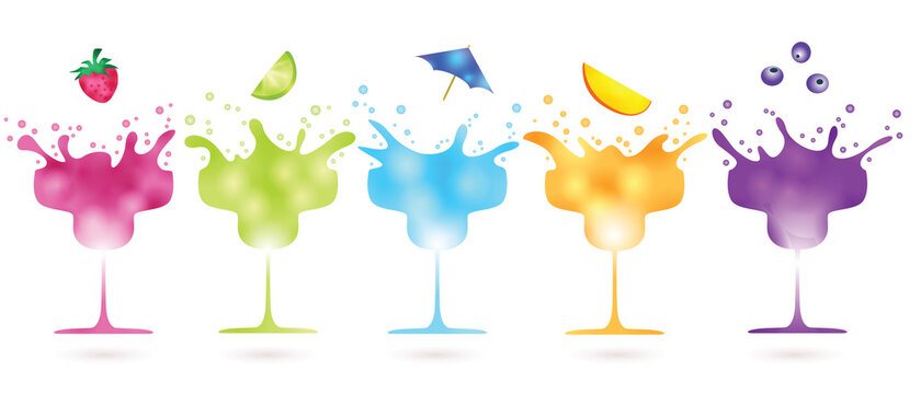 fruit falling into splashing colorful cocktails isolated on white background - vector illustration, concept of summer refreshments