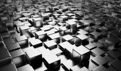 Background of square metal blocks.