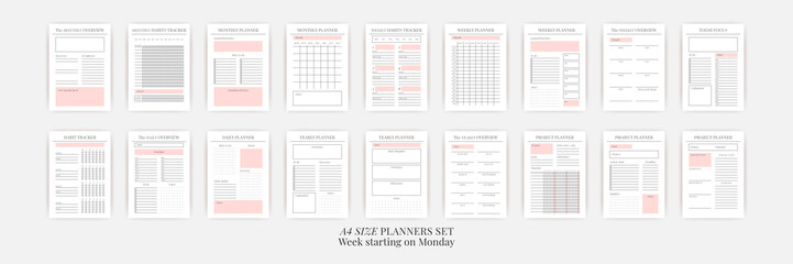 Obraz Planner sheet vector. Printable vertical notebook page - fototapety do salonu