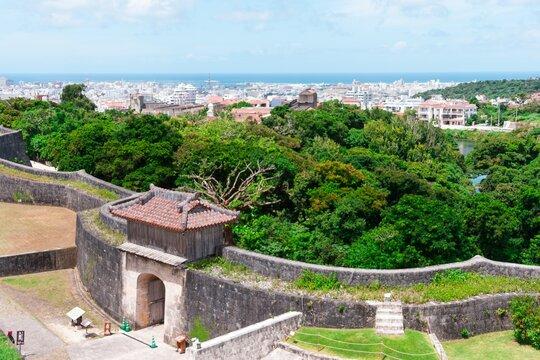 Aerial shot of Shuri Castle in Okinawa