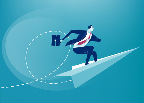 Flying Up. Businessman balances and flies on paper plane. Business vector illustration