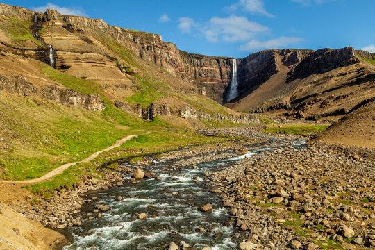 Hengifoss, third highest waterfall in Iceland located in Hengifossá in Fljótsdalshreppur, East Iceland.