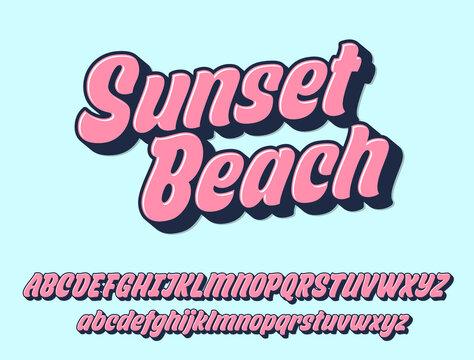 Sunset beach script design. Vector alphabet.
