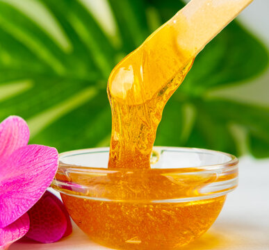 depilation and beauty concept - sugar paste or wax honey for hair removing flows down from wooden waxing spatula sticks on flower background