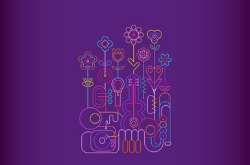 Foto op Canvas Abstractie Art Neon colors isolated on a violet background Summer Flowers and Musical Instruments vector illustration. Blossoming flowers grow from music instruments.